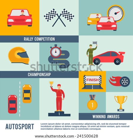 Auto sport flat icon set with rally competition championship winner awards elements isolated vector illustration - stock vector