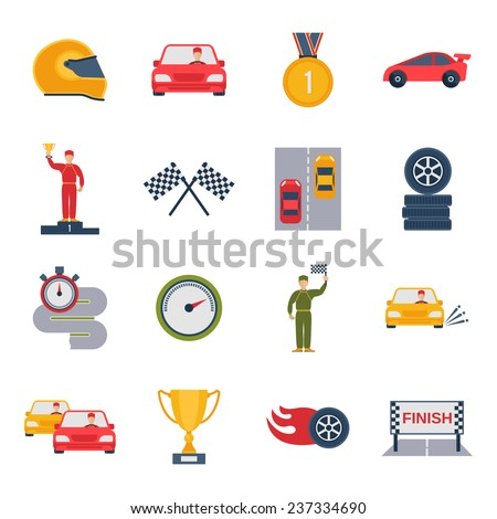 Auto sport grand prix icon flat set with bolide trophy helmet isolated vector illustration - stock vector