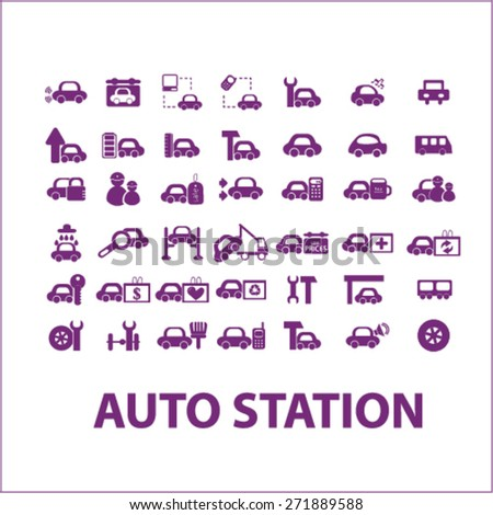 auto station, car services, car washing icons, signs, illustrations set, vector - stock vector