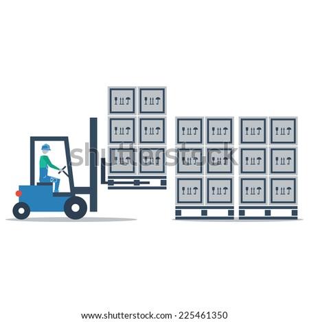 auto truck loader moving pallet vector flat design - stock vector