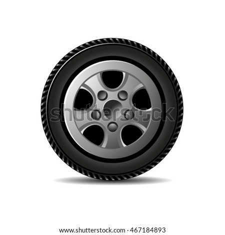 auto tyre with rim-vector drawing