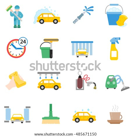 Auto Wash Flat Icons Set Car Stockvector 485671150 Shutterstock