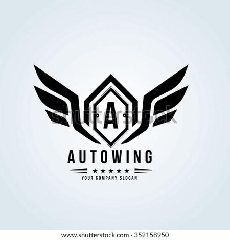 Auto wing,Automotive logo,Crests logo,Vector logo template - stock vector