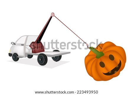 Auto Wrecker Tow Truck, Recovery Truck, Breakdown Lorry or A Breakdown Truck Recover Happy Jack-o-Lantern Pumpkins For Halloween Celebration.  - stock vector