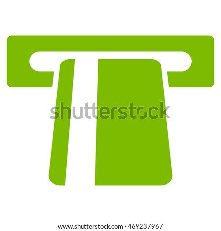 Automated Banking Service icon. Vector style is flat iconic symbol with rounded angles, eco green color, white background.