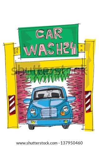 automatic carwash station - cartoon - stock vector