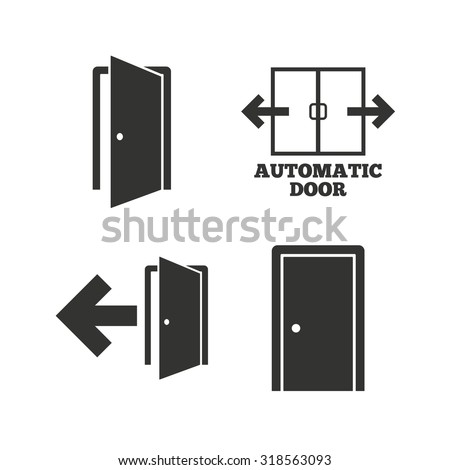 Automatic door icon. Emergency exit with arrow symbols. Fire exit signs. Flat icons  sc 1 st  Shutterstock & Symbol Door Stock Images Royalty-Free Images \u0026 Vectors | Shutterstock