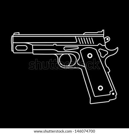 Automatic Pistol - isolated vector icon on black background. Graphic design. - stock vector