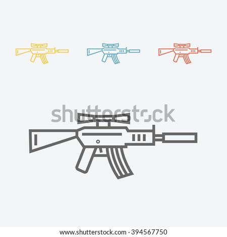 Automatic sniper rifle. Military weapon gun line icon. - stock vector