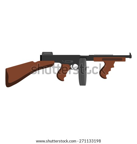 Automatic weapon gun. - stock vector