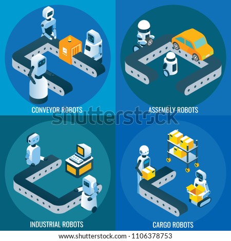 Automation Robotics Vector Isometric Poster Banner Stock Vector