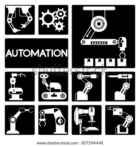 automation icons set, robotic technology icons - stock vector
