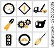 automobile, car service icon set - stock vector