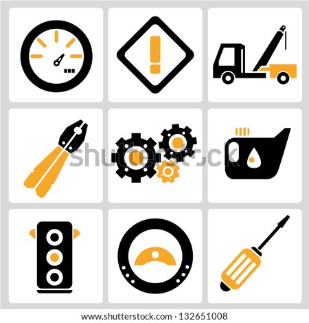 automobile, car service icon set - stock vector