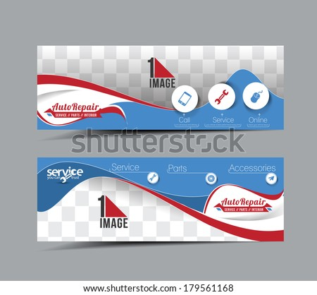 Automobile Center Header & Banner Design - stock vector