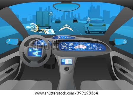 Automobile cockpit, various information monitors and head up displays. autonomous car, driverless car, driver assistance system, ACC(Adaptive Cruise Control), vector illustration - stock vector