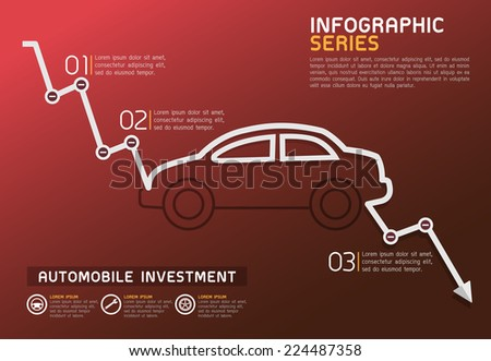 Automobile Falling Line Diagram Template Vector - stock vector