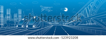 Automobile highway, infrastructure and transportation panorama, airplane fly, train move on the bridge, two locomotives in depot, night city, towers and skyscrapers, urban scene, vector design art