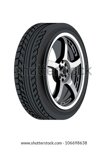 Automobile or car tire and rim - stock vector