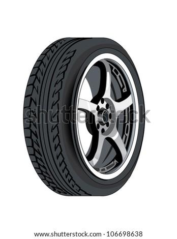 Automobile or rubber car tire and rim - stock vector