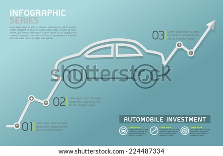 Automobile Rising Line Diagram Template Vector - stock vector