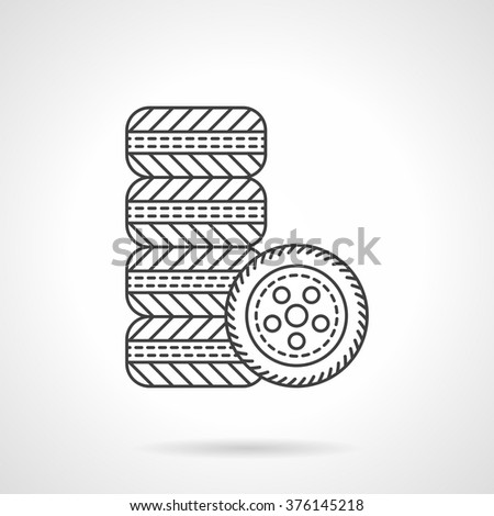 Automobile tires. Kit of car wheels. Car services. Shop for auto spare parts. Vector icon flat thin line style. Element for web design, business, mobile app.  - stock vector