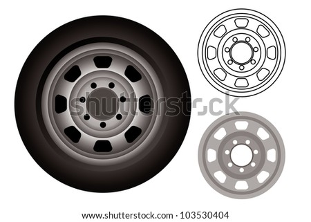 automobile wheels or tires - stock vector
