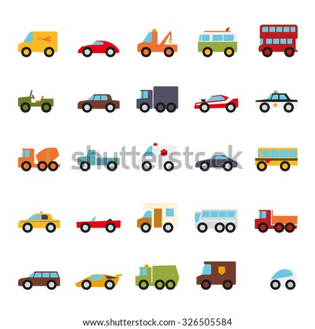 Automobiles Flat Design Vector Icons Collection. Set of 25 cars, vans and other motor vehicles color symbols on white background