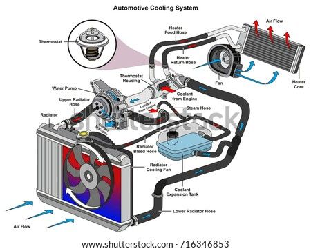 automotive cooling system infographic diagram showing stock vector rh shutterstock com car cooling system diagram car radiator flow diagram