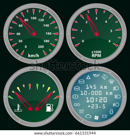rpm gauge vector. automotive gage cluster vector illustration. racing elements. dashboard set with speedometer, rpm gauge