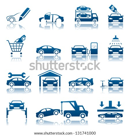 Automotive icon set - stock vector
