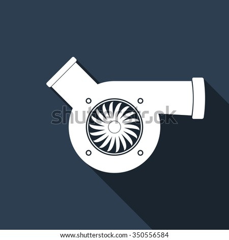 Automotive turbocharger flat icon with long shadow. Vector Illustration - stock vector