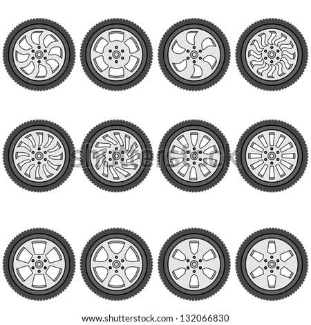 automotive wheel with alloy wheels, vector illustration - stock vector