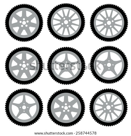 automotive wheel with alloy wheels. Vector illustration. - stock vector