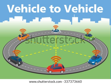 Autonomous Car Image Illustration, vector - stock vector