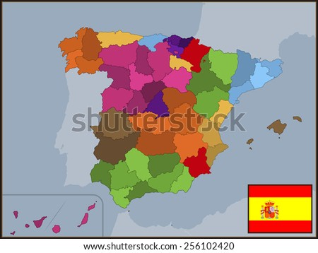 Autonomous Communities of Spain with Flag and Badge - stock vector