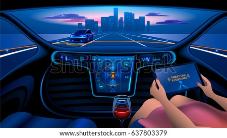 autonomous smart car interior woman rides stock vector 637803379 shutterstock. Black Bedroom Furniture Sets. Home Design Ideas