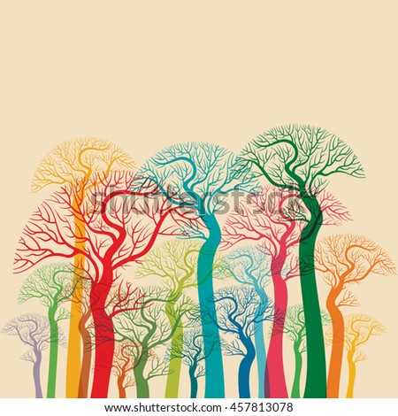 autumn abstract tree forest - stock vector