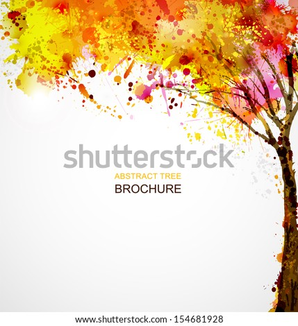 autumn abstract tree forming by blots  - stock vector