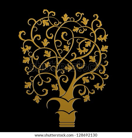 autumn - abstract tree - vector - stock vector