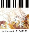 Autumn Arrangement with notes. Melody on the piano. - stock vector