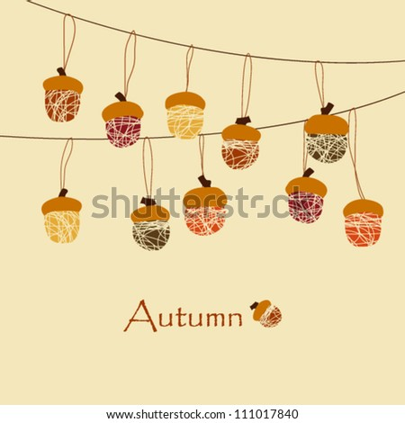 Autumn Background / Acorn Decoration