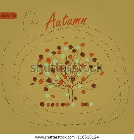 Autumn Background, Autumn Tree - stock vector
