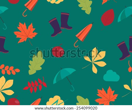 Autumn background. Leaves and accessories. Vector seamless pattern - stock vector