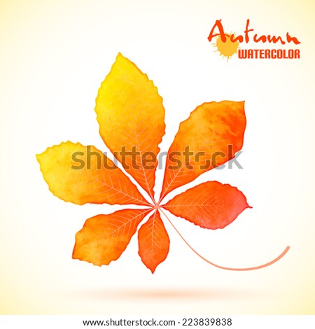 Autumn background, watercolor chestnut leaf, vector eps10 - stock vector