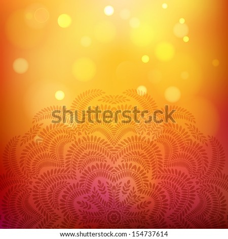 Autumn background with bokeh effect and floral ornament. Vector illustration - stock vector