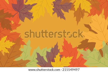 Autumn background with colorful leaves, vector illustration