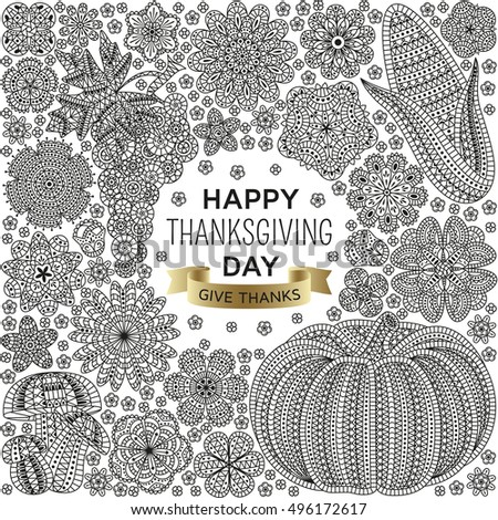 Autumn background with creative vegetables and flowers, decorative floral background, vector illustration
