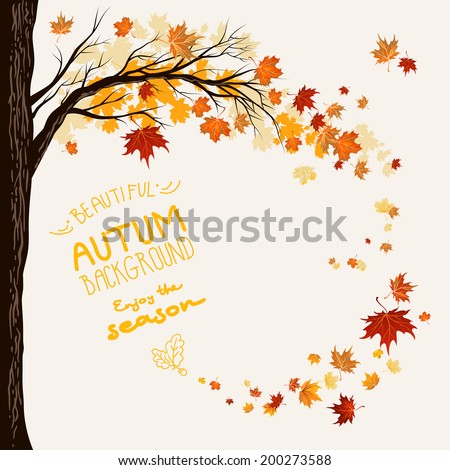 Autumn background with flying maple leaves. Space for text - stock vector