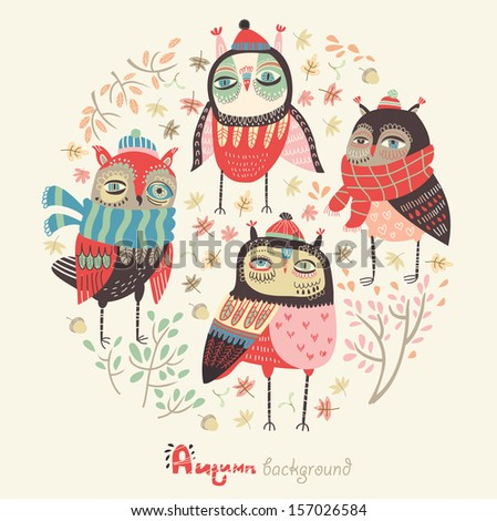 Autumn background with funny owls - stock vector